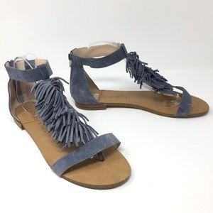 Sole Society Genuine Leather Fringe Thong Sandals